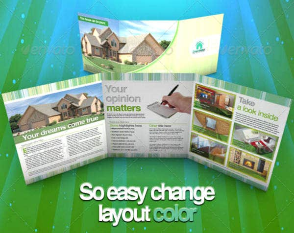 Real Estate Trifold Brochure Layout Template