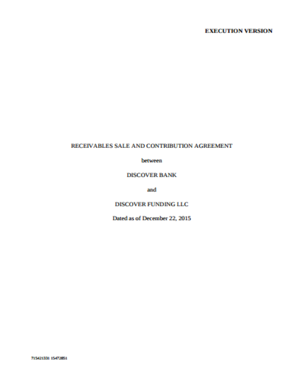 receivable sales and contribution agreement template