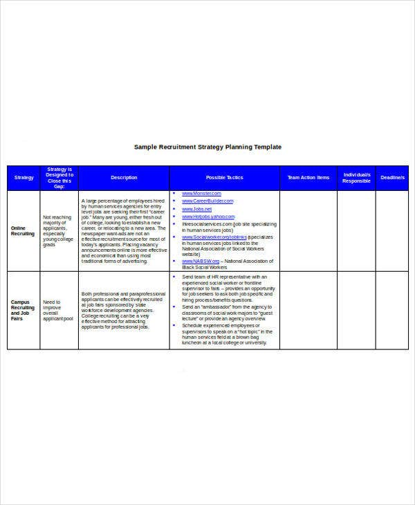Recruitment Strategy Planning Template