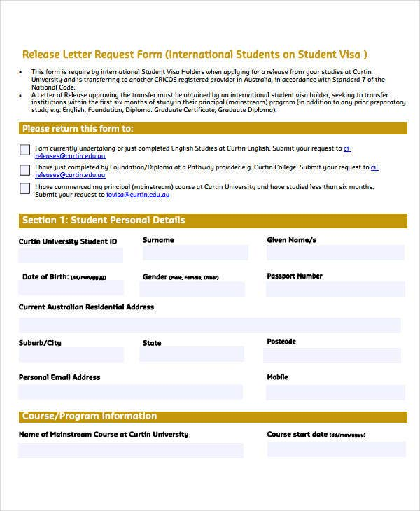 release letter request