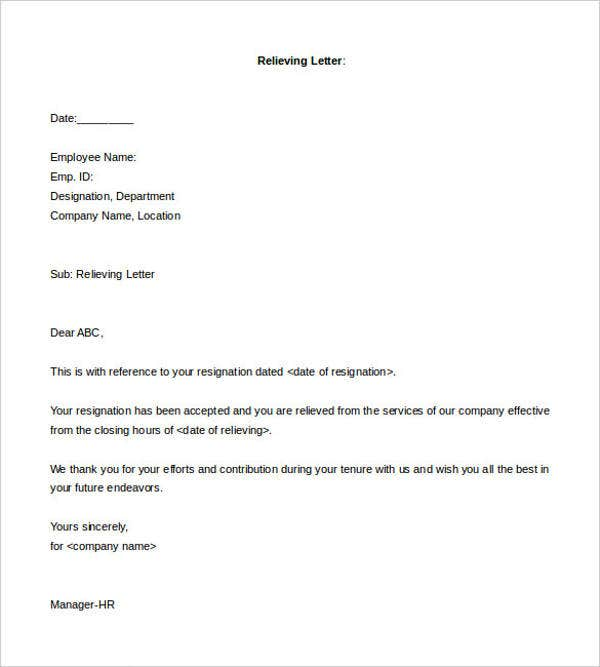 15 relieving letter examples pdf doc free premium templates relieving letter format for employee thecheapjerseys Choice Image