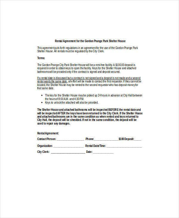 rental agreement for the shelter house