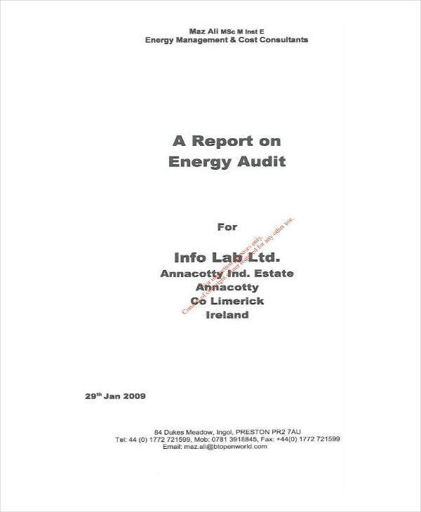 report on energy audit