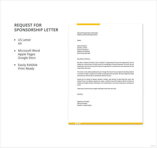 request for sponsorship letter template