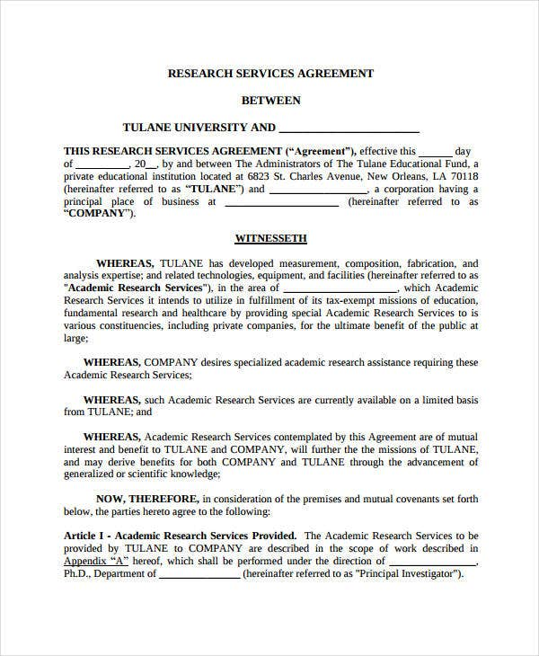research services agreement