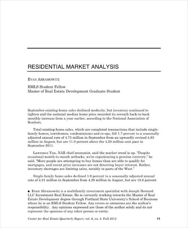 Residential Market Analysis