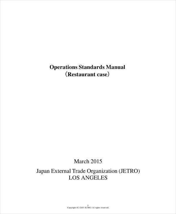 restaurant operations plan manual sample