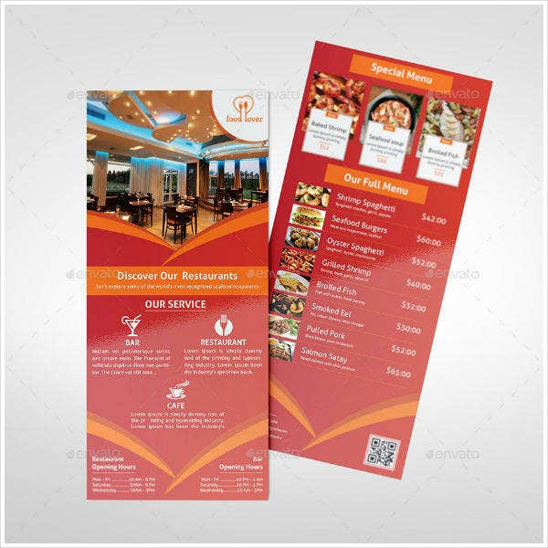 Restaurant Rack Card Example