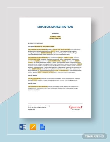 restaurant strategic marketing plan template