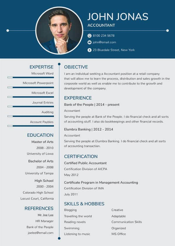 resume for banking fresher