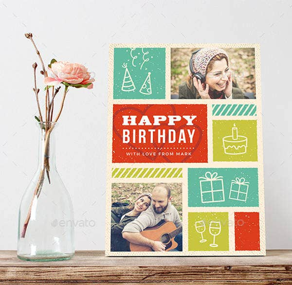 Retro Birthday Greeting Card for Friend