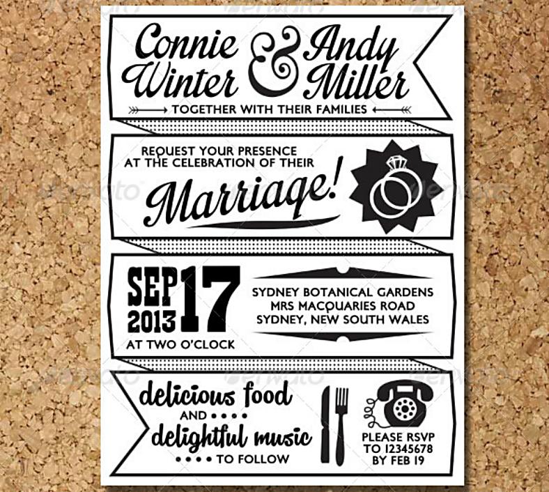 Retro Letterpress Wedding Invitation Postcard Template