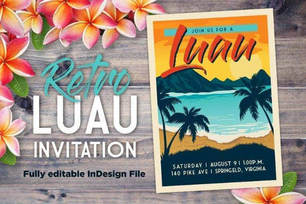 Retro Luau Party Invitation Template