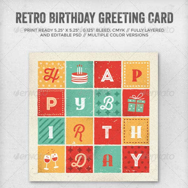Retro Personalized Birthday Card Template