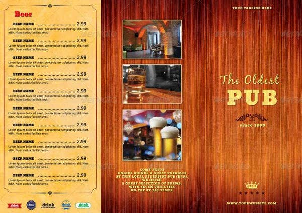 Retro Pub Menu Sample