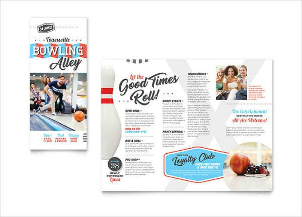 Retro Theme Bowling Brochure Template