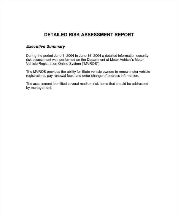 Risk Assessment Report Sample