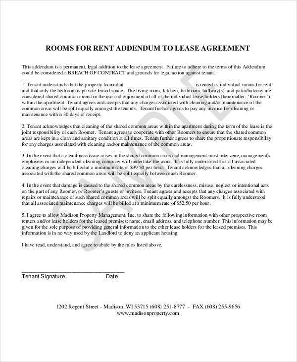 rooms for rent addendum to lease agreement