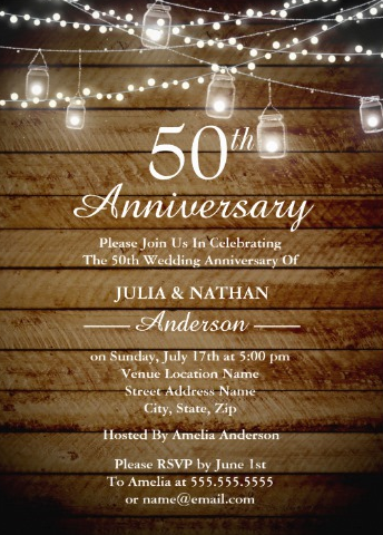 Rustic Backyard 50th Anniversary Invitation