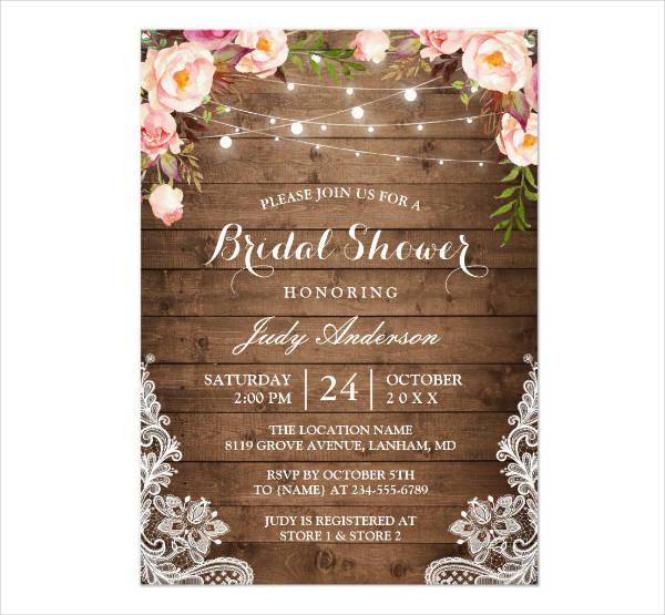Rustic Lace Floral Bridal Shower Card