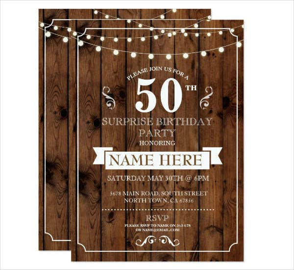 Rustic Surprise 50th Birthday Party Invitation