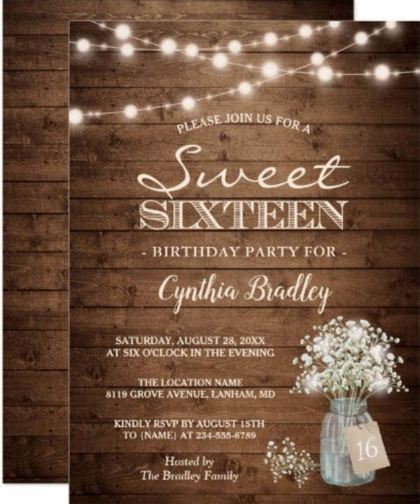 Rustic Sweet Sixteen Birthday Invitation
