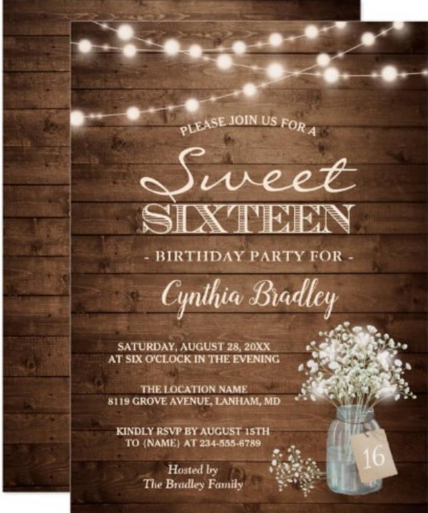 rustic sweet sixteen birthday invitation