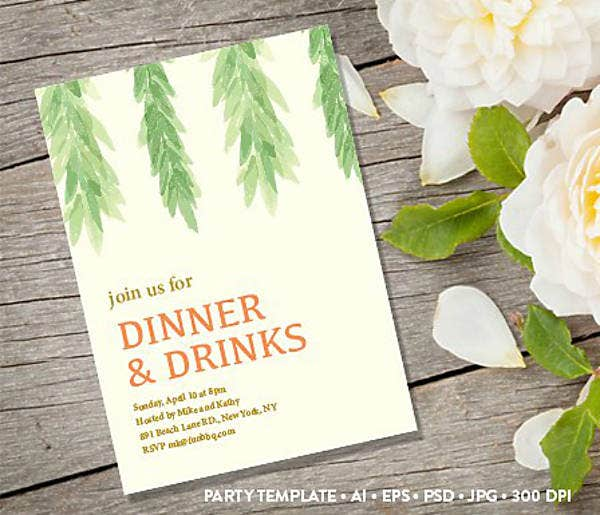 Rustic Themed Garden Dinner Invitation Template