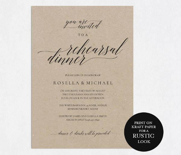 Rustic Wedding Rehearsal Dinner Invitation Design