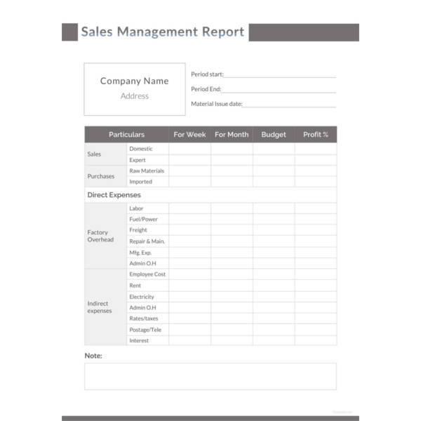 sales management report