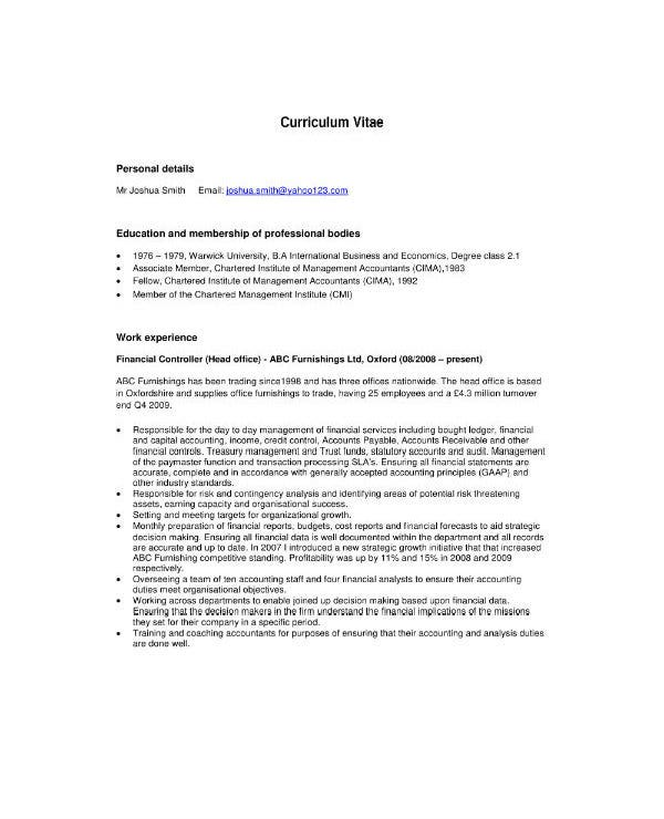 sample accountant cv