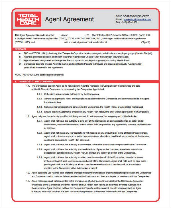 sample agent agreement