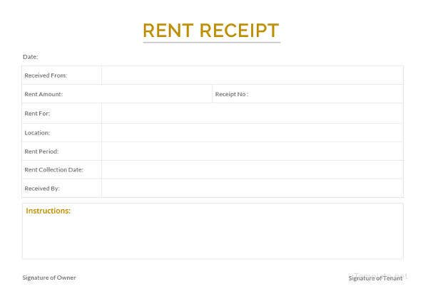 sample apartment rent receipt