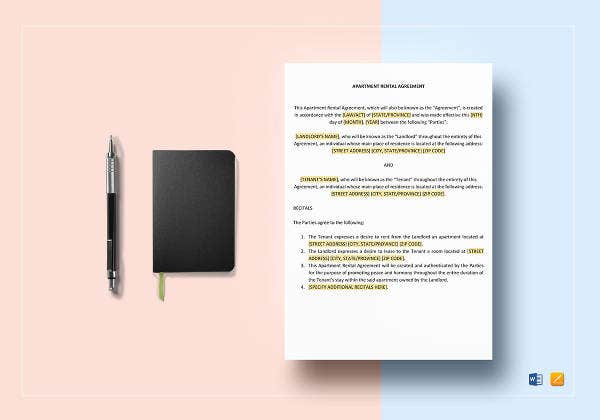 sample apartment rental agreement template2