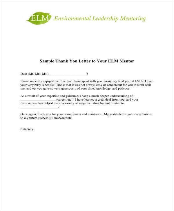 sample appreciation letter