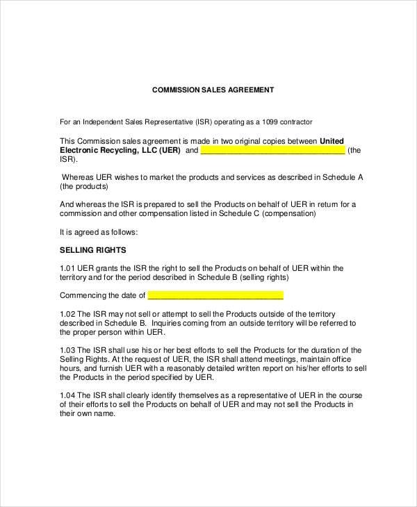 10 Sales Commission Agreement Templates Pdf Doc Free Premium Templates
