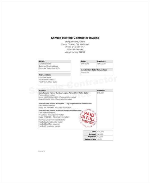 Sample Contractor Invoice