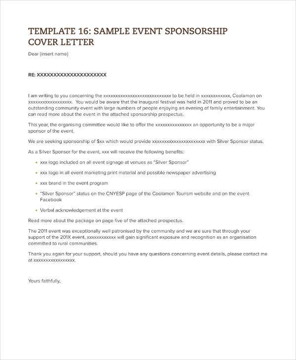 Sample Event Sponsorship Letter