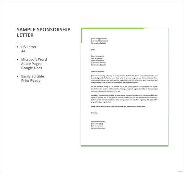 sample free sponsorship letter template