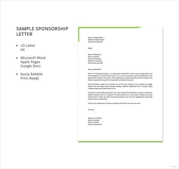 Sponsorship Letter Template | 17 Sample Sponsorship Letter Templates Pdf Doc Apple Pages