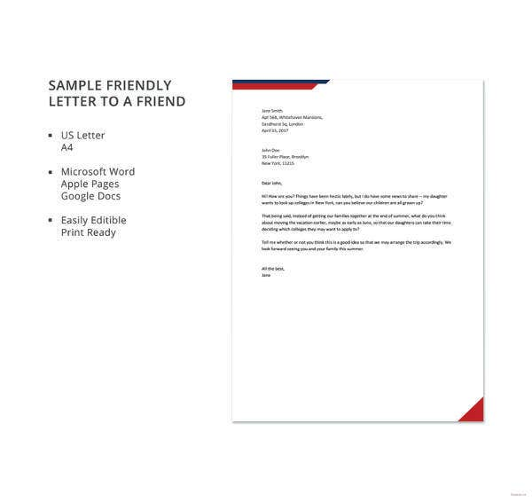 sample friendly letter to a friend template