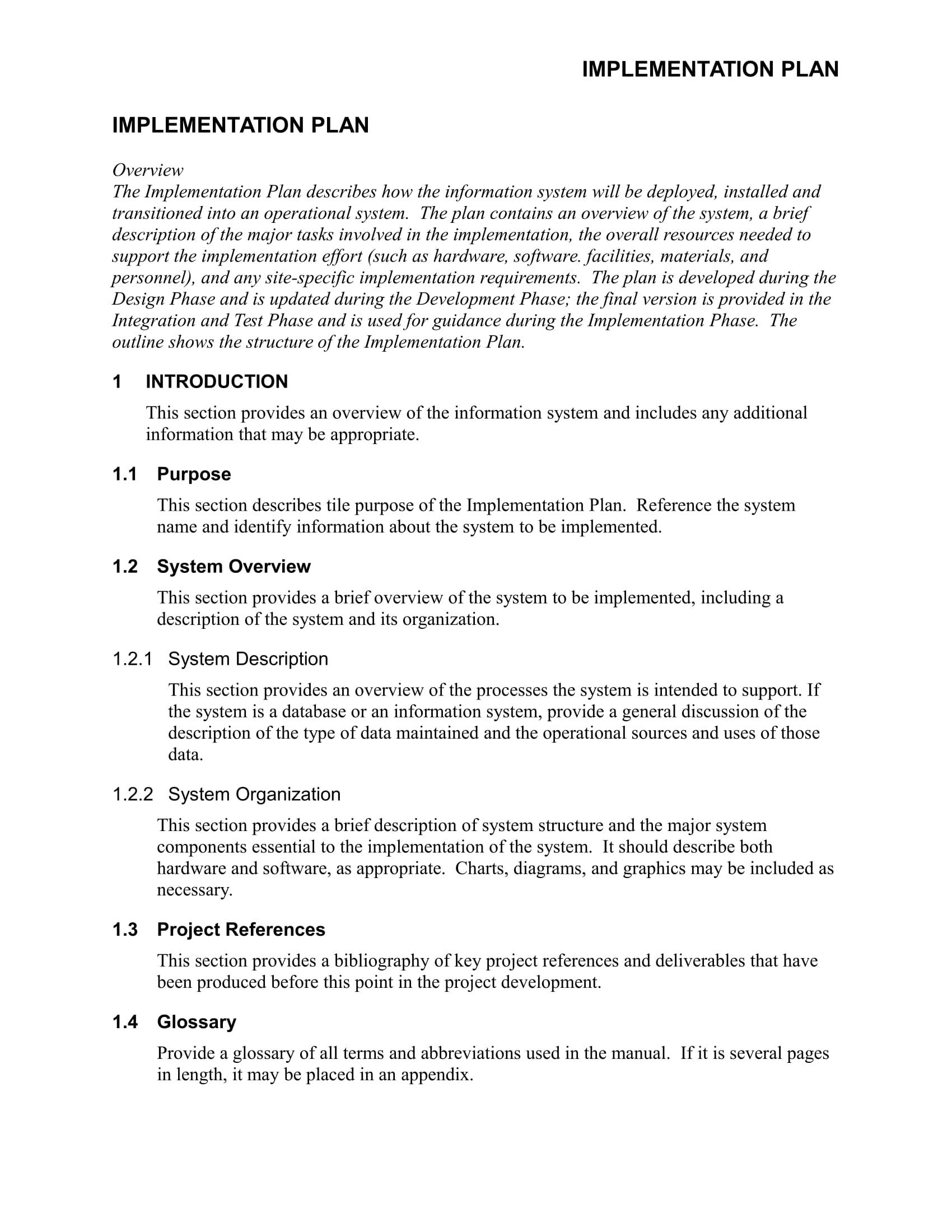 sample implementation plan template