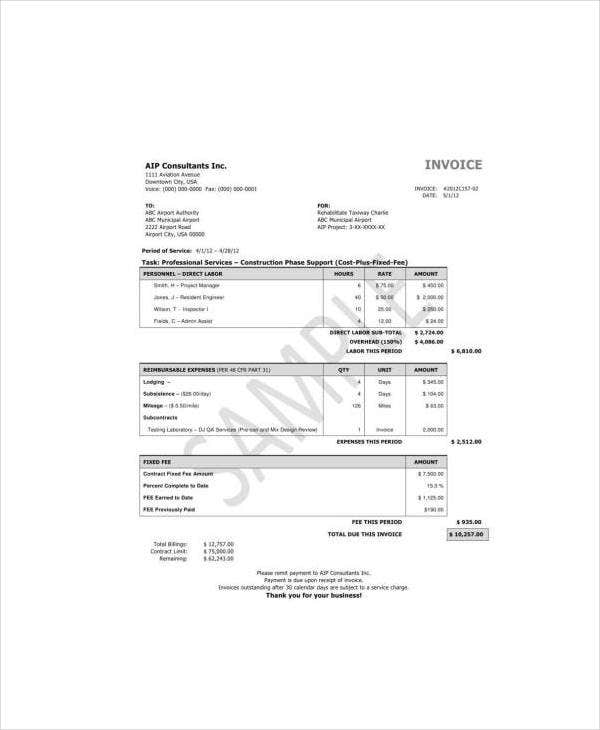 Sample Invoice Example