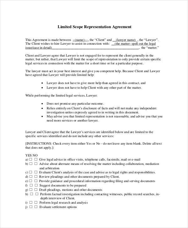 sample limited scope representation agreement