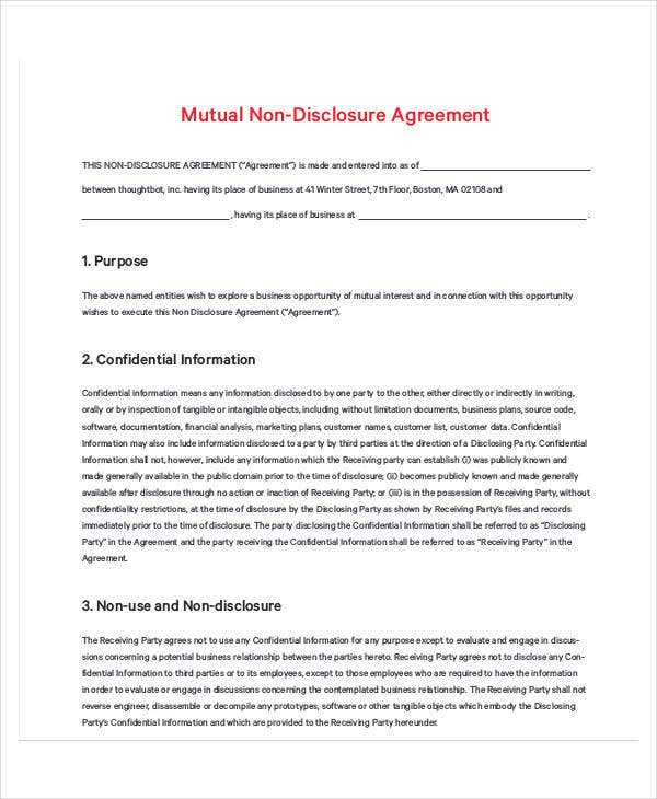sample mutual non disclosure agreement