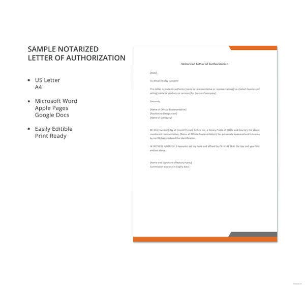 Sample Notarized Letter Of Authorization. Details