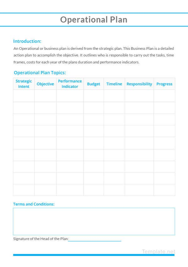 sample operational plan template1