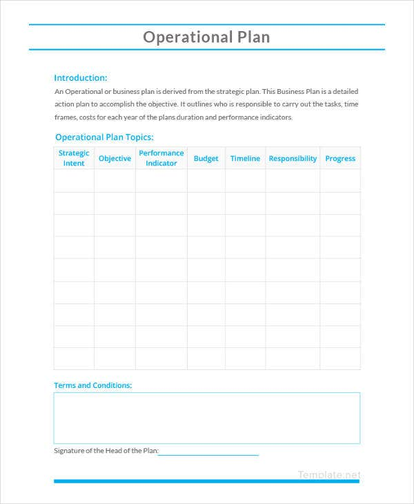 10 Simple Operations Plan Templates Pdf Word Free Premium