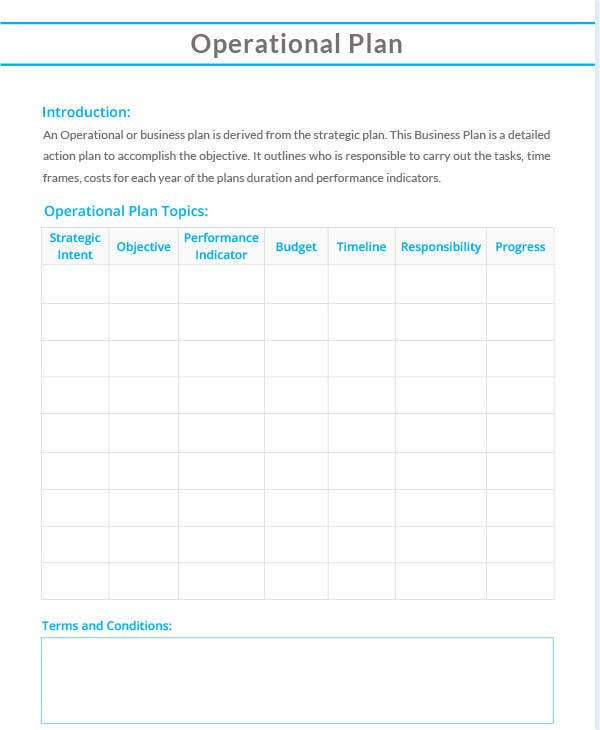 sample operational plan template4