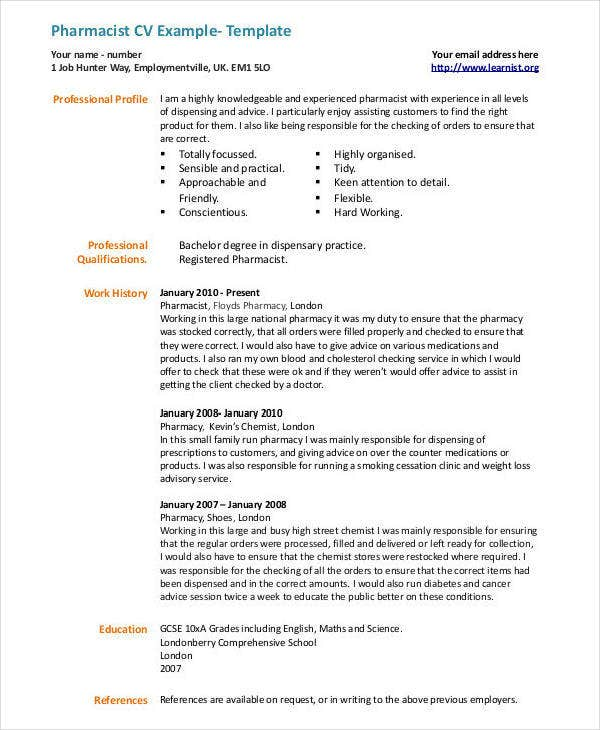 Sample Pharmacist CV